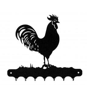 Accroche-clés, décor en métal, Coq