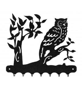 Accroche-clés, décor en métal, Hibou sur sa branche