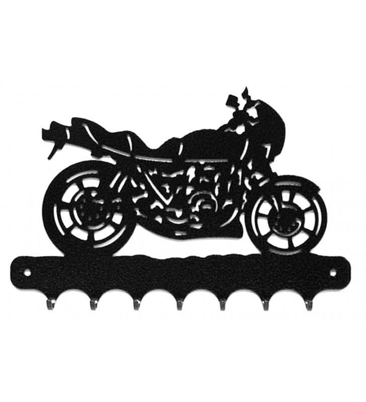 Accroche-clés, décor en métal, moto routière