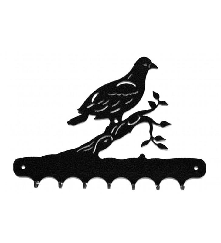 Accroche-clés, décor en métal, Pigeon