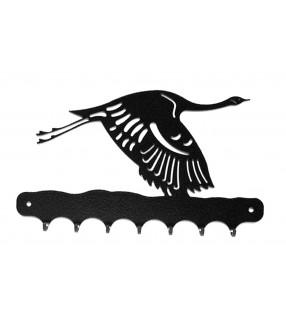 Accroche-clés, décor en métal, Grue en vol