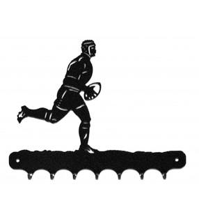 Accroche-clés, décor en métal, Rugbyman