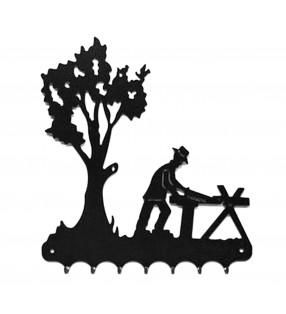Accroche-clés, décor en métal, Bûcheron