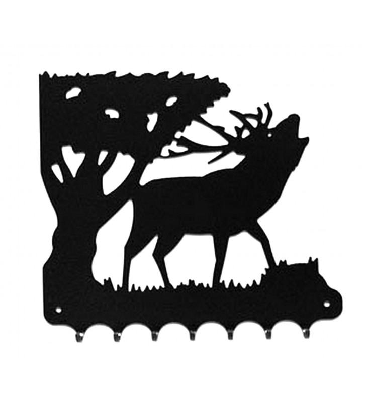 Accroche-clés, décor en métal, Brame du cerf