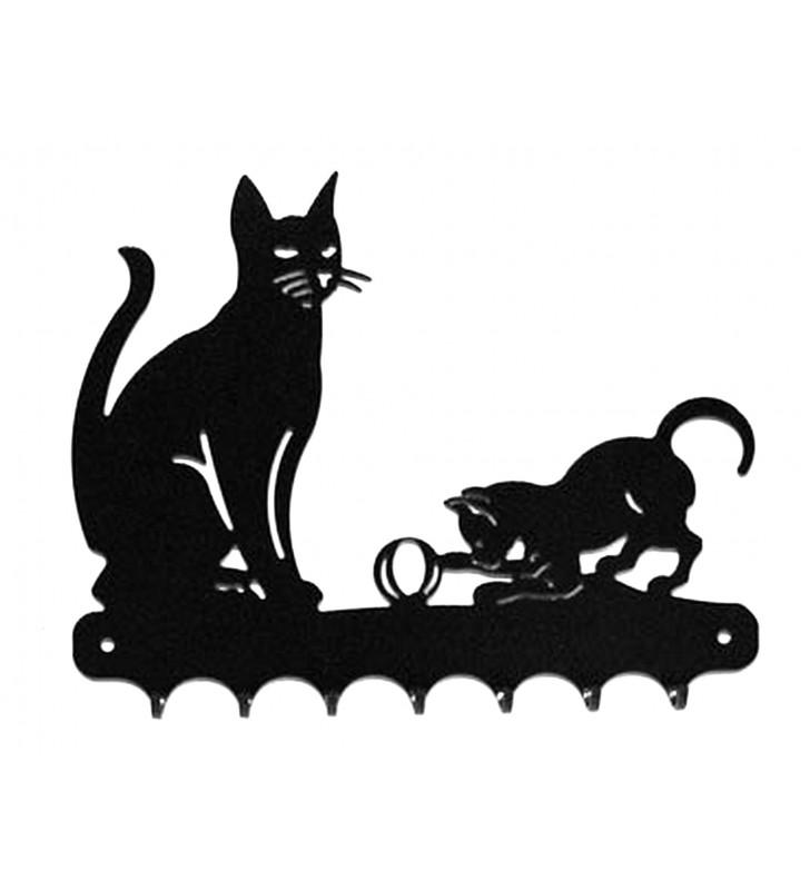 Accroche-clés, décor en métal, Chat et son chaton