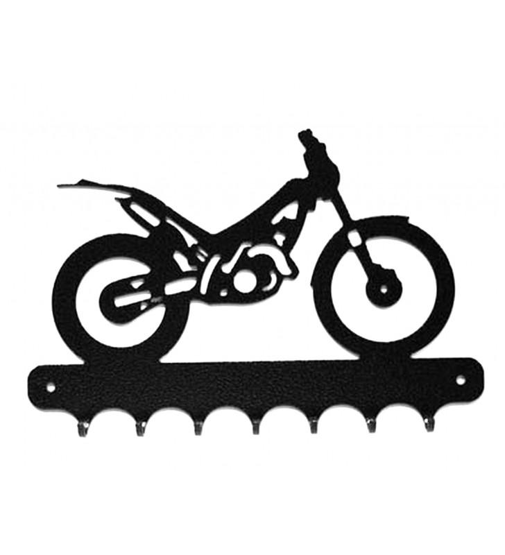 Accroche-clés, décor en métal, moto trial