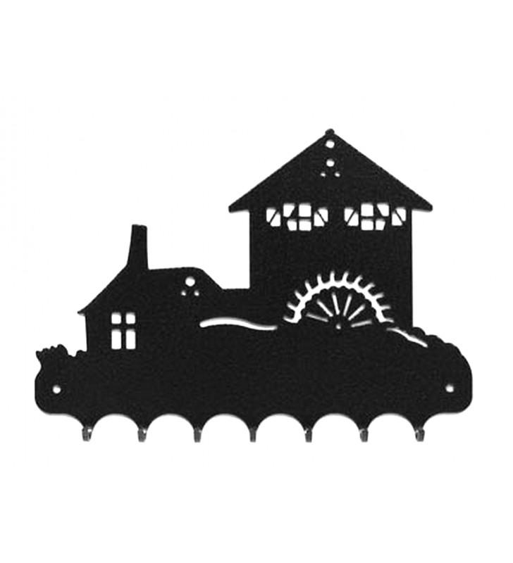 Accroche-clés, décor en métal, Moulin et sa roue à aube