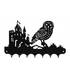 Accroche-clés, décor en métal, Chouette au château