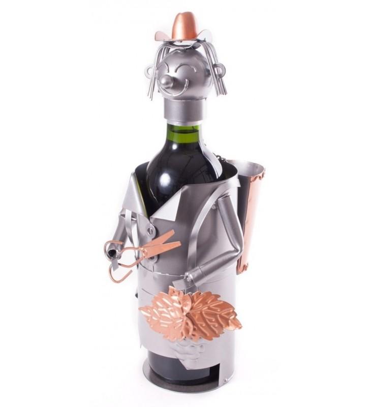 Porte-bouteille original en métal, Vendangeur