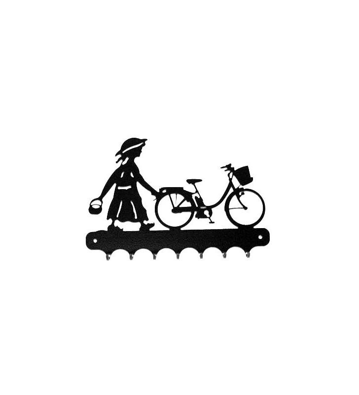 Accroche-clés, décor en métal, Fillette à vélo