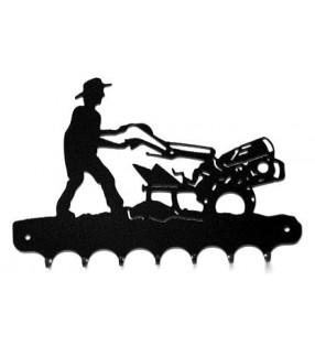 Accroche-clés, décor en métal, Jardinier et son motoculteur