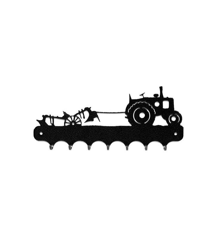 Accroche-clés, décor en métal, Tracteur Vierzon et sa charrue