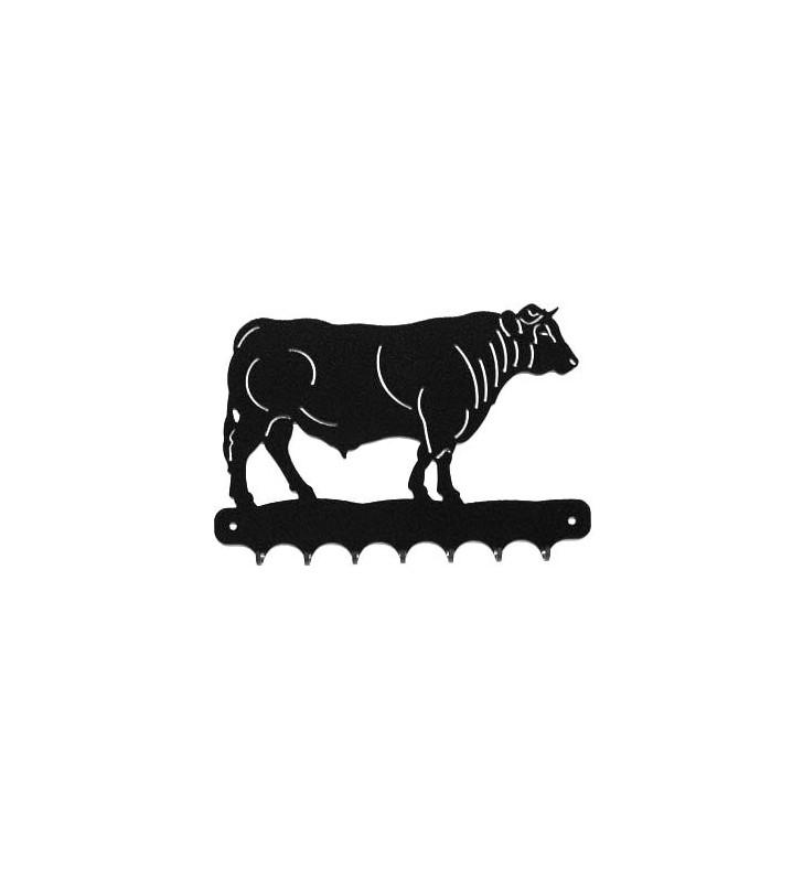 Accroche-clés, décor en métal, Taureau Charolais