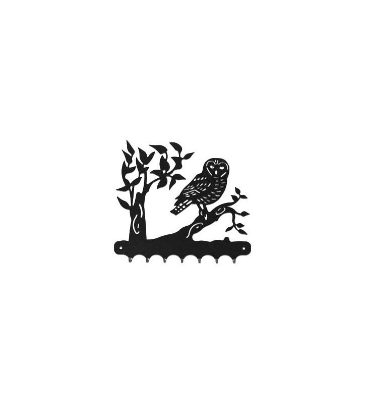 Accroche-clés, décor en métal, Chouette sur sa branche