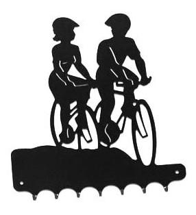 Accroche-clés, décor en métal, Balade à vélo