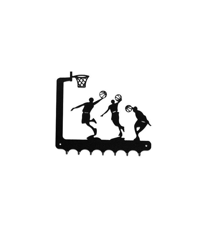 Accroche-clés, décor en métal, Basketteurs