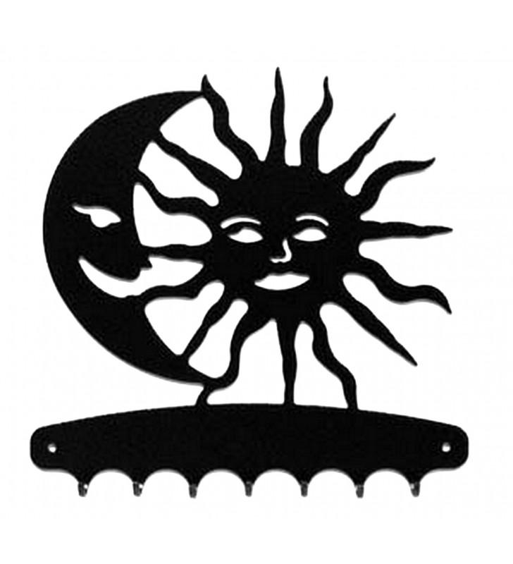 Accroche-clés, décor en métal, Soleil et Lune