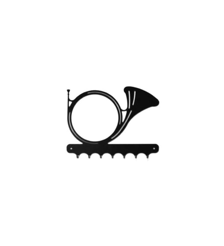 Accroche-clés, décor en métal, Trompe de chasse