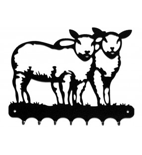 Accroche-clés, décor en métal, Moutons