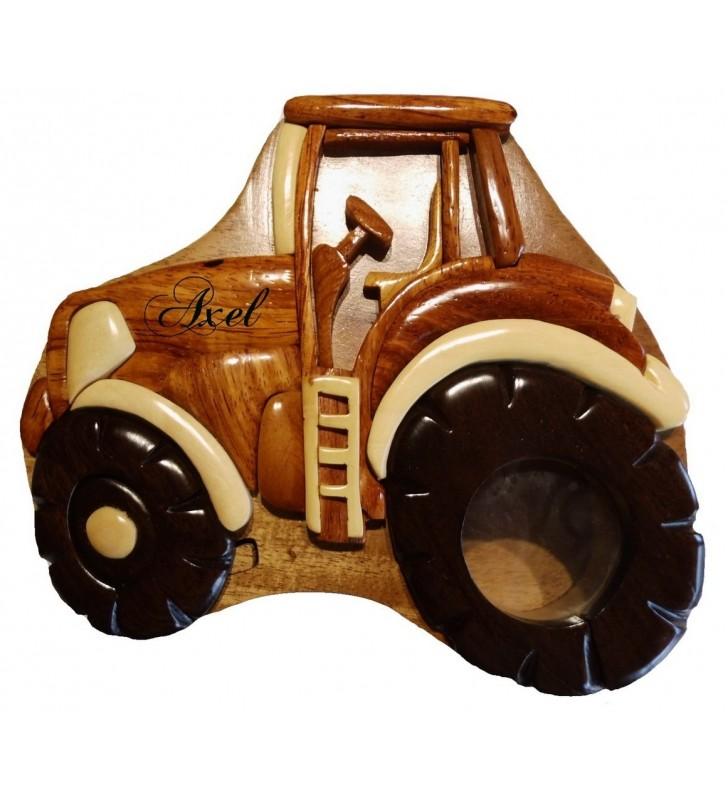 Tirelire puzzle originale en bois avec prénom, Tracteur