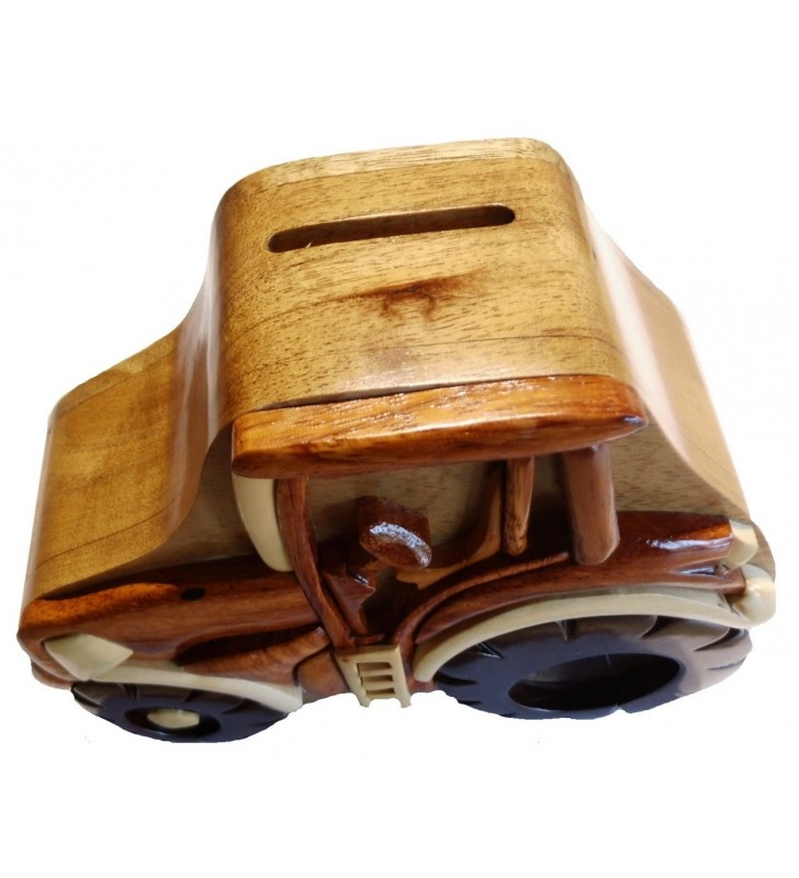 Tirelire puzzle originale en bois, modèle Tracteur