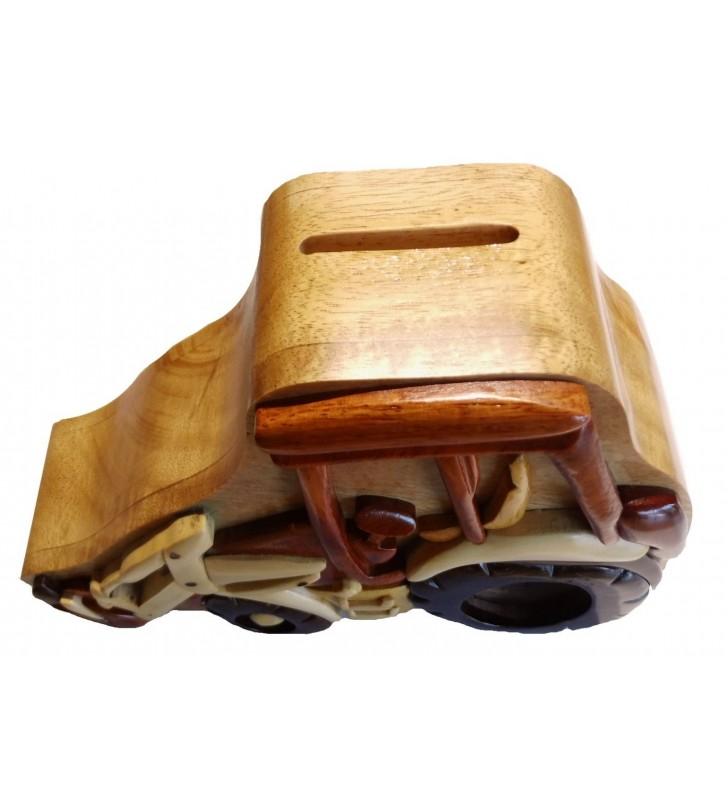 Tirelire puzzle originale en bois, modèle Tractopelle