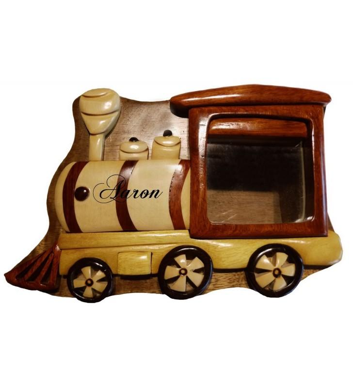 Tirelire puzzle originale en bois avec prénom, Locomotive