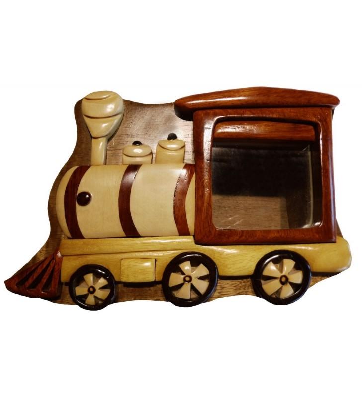 Tirelire puzzle originale en bois sans prénom, Locomotive