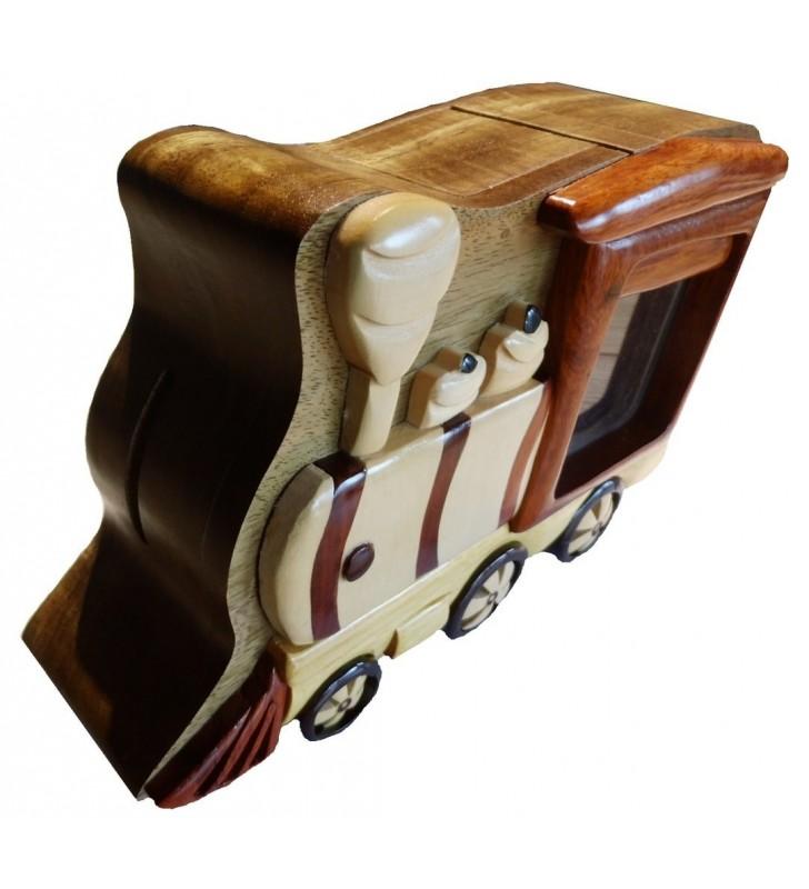 Tirelire puzzle originale en bois, modèle Locomotive