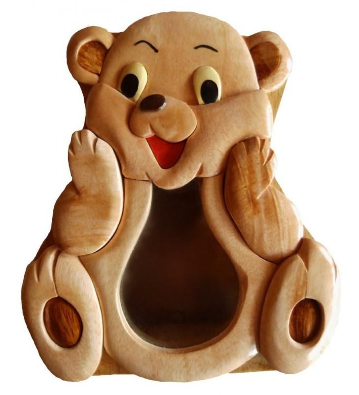 Tirelire puzzle originale en bois sans prénom, Ourson
