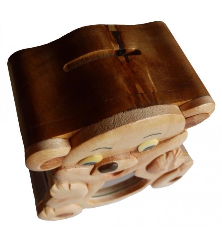 Tirelire puzzle originale en bois, modèle Ourson