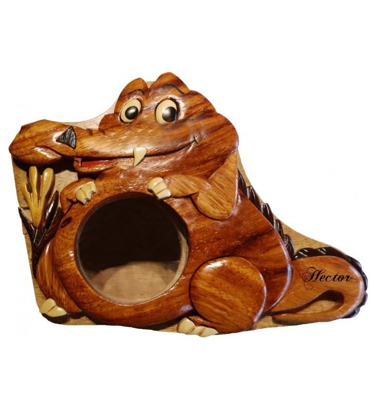 Tirelire puzzle originale en bois avec prénom, Alligator