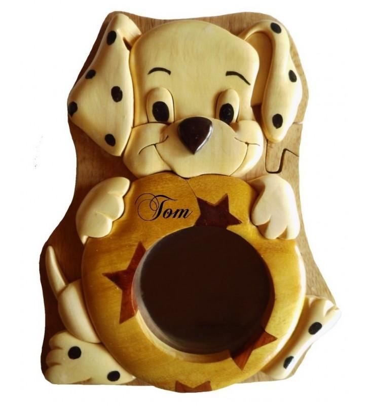 Tirelire puzzle originale en bois avec prénom, Chiot dalmatien