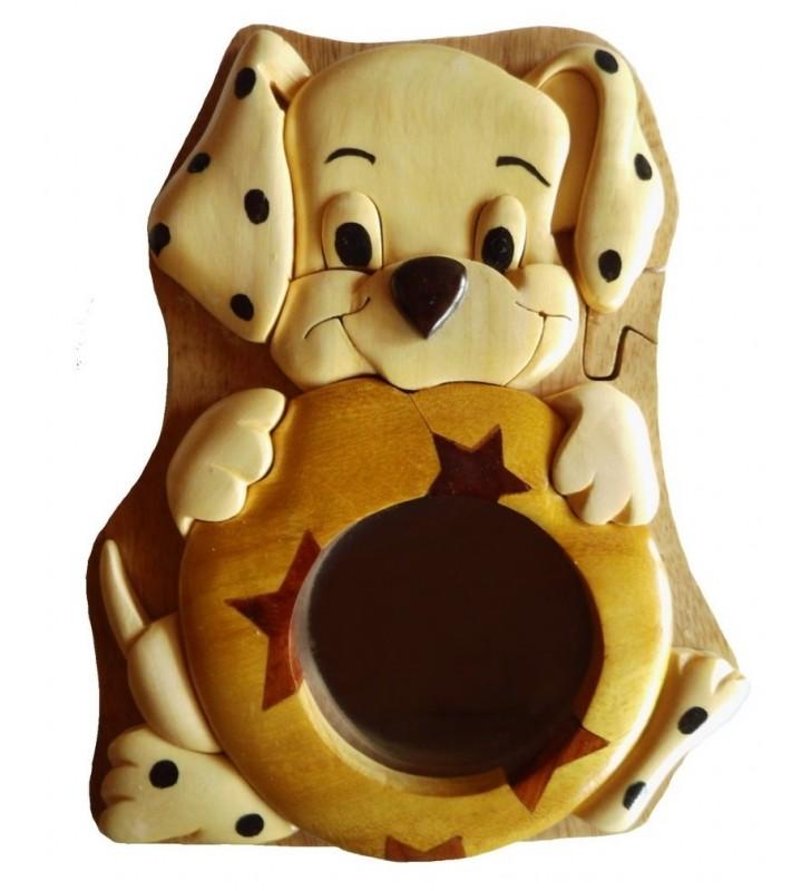 Tirelire puzzle originale en bois sans prénom, Chiot dalmatien