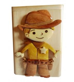 Tirelire en bois avec prénom, Petit Cowboy