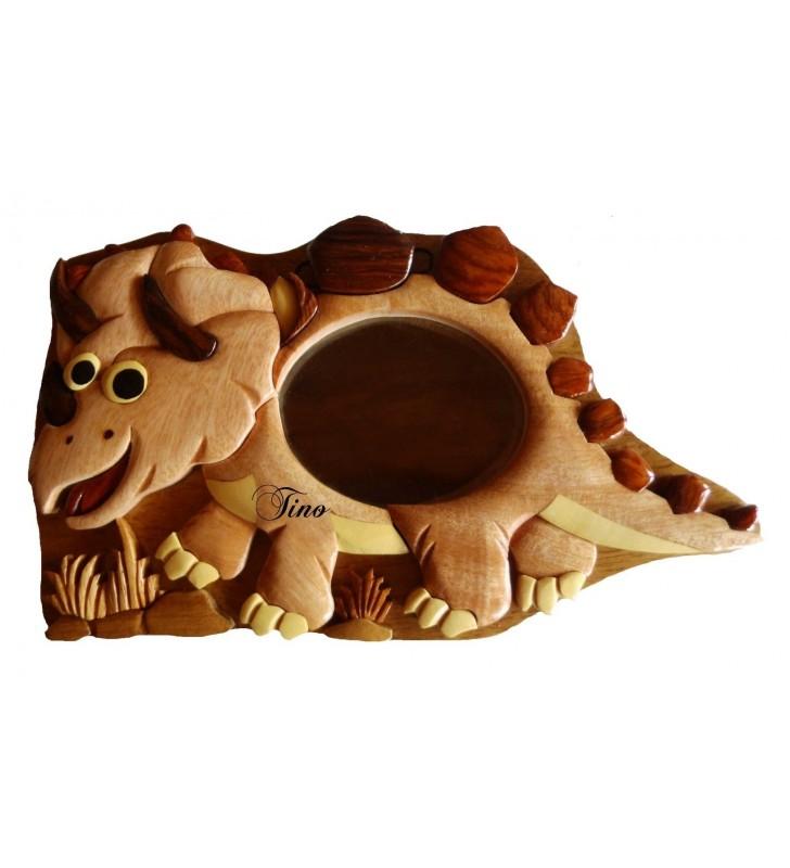Tirelire puzzle originale en bois avec prénom, Dinosaure