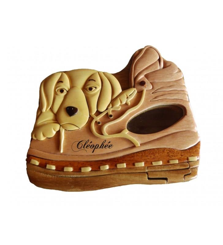Tirelire puzzle originale en bois avec prénom, Chien / Chaussure