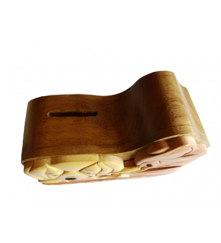 Tirelire puzzle originale en bois, modèle Chien / Chaussure