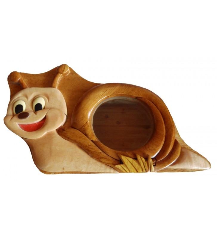 Tirelire puzzle originale en bois sans prénom, Escargot