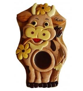 Tirelire puzzle originale en bois avec prénom, Vache