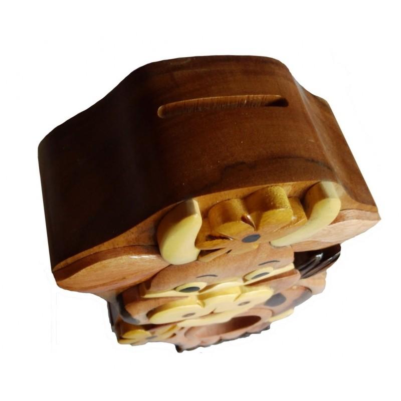 Tirelire puzzle originale en bois, modèle Vache