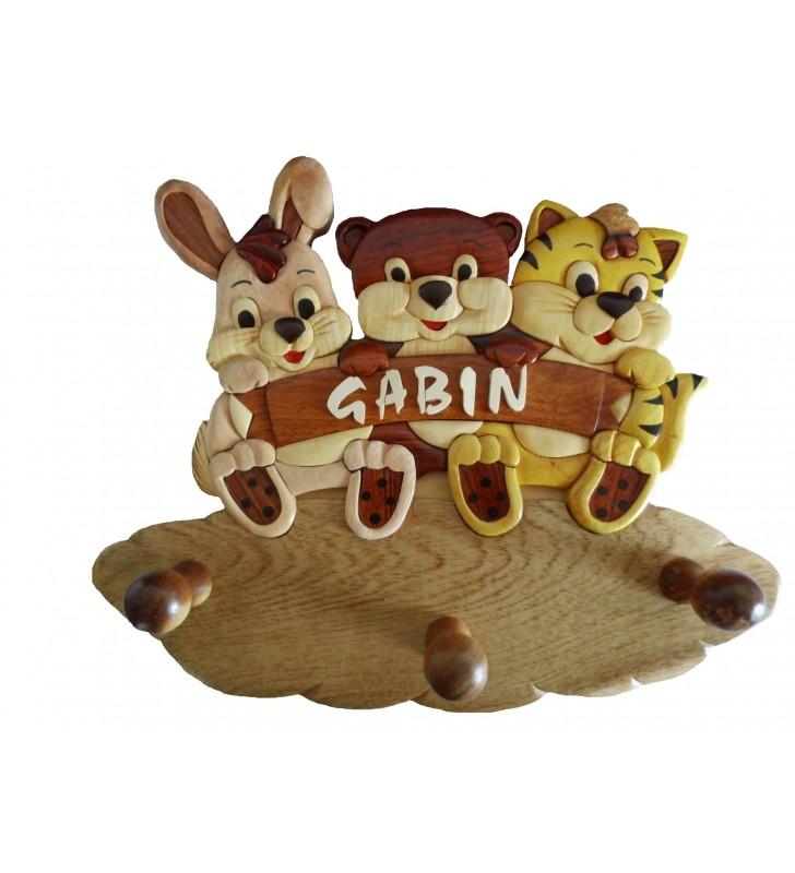 Porte-manteau prénom en bois personnalisé, Lapin, Ours et Chat