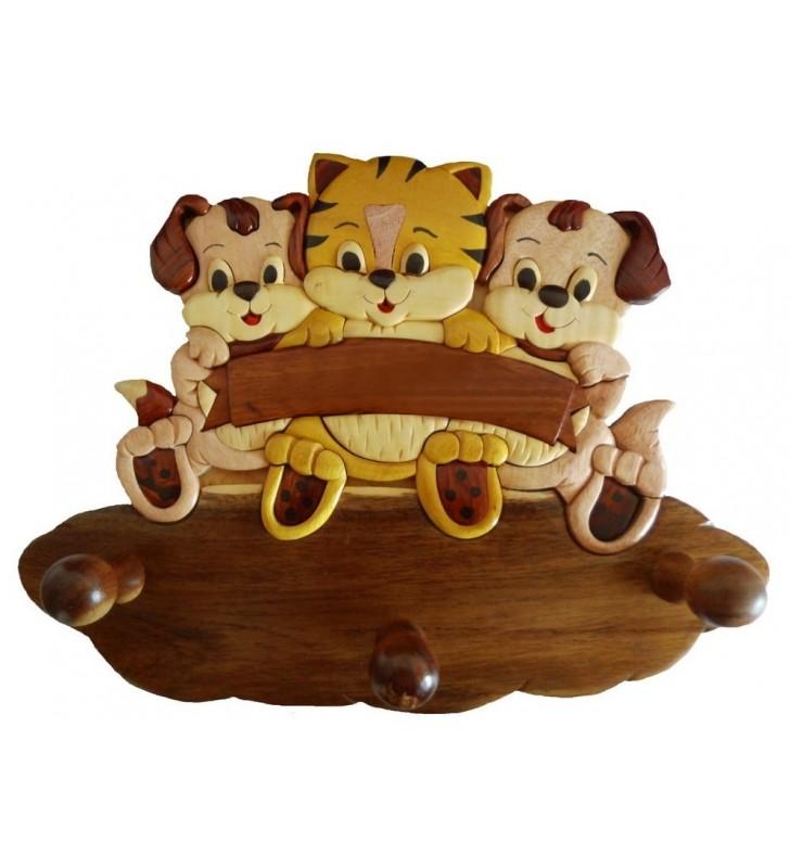 Porte-manteau enfant en bois, modèle 2 Chiots / Chaton