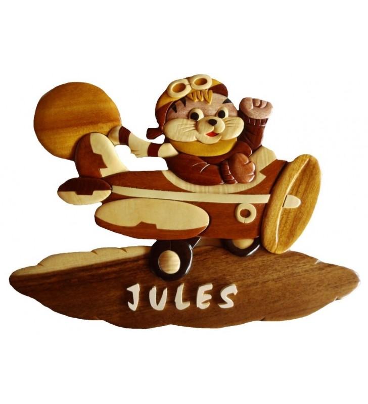 Plaque de porte pr nom en bois pour chambre d 39 enfant chaton aviateur - Plaque de porte prenom ...