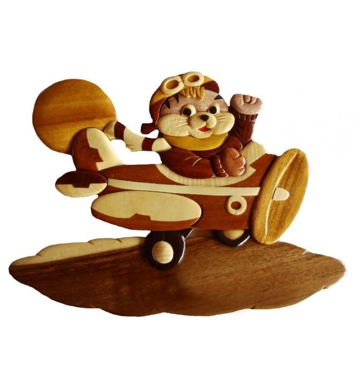 Plaque de porte prénom en bois, Chaton aviateur