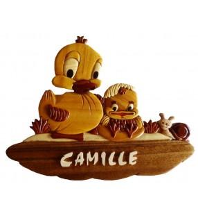 Plaque de porte prénom en bois, Canard / Poussin
