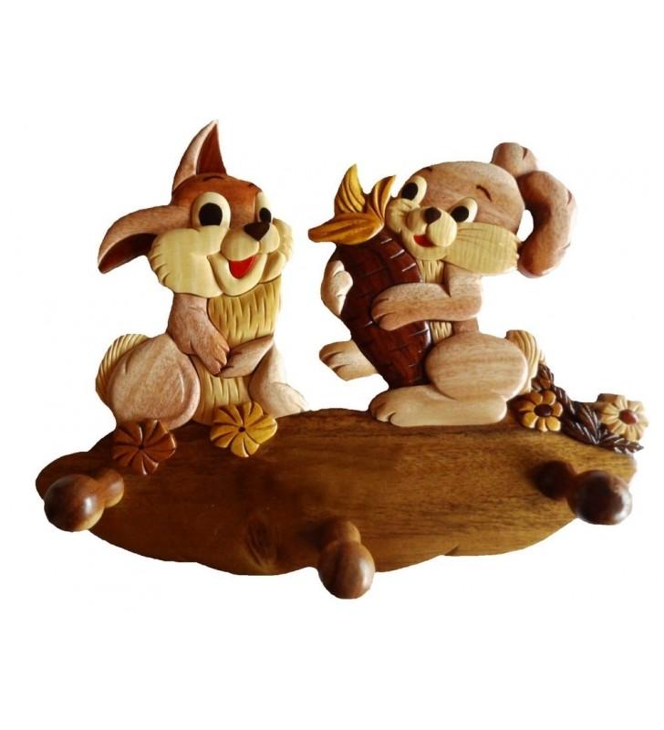 Porte-manteau enfant en bois, modèle Lapereaux