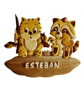 Plaque de porte prénom en bois, Chaton / Raton