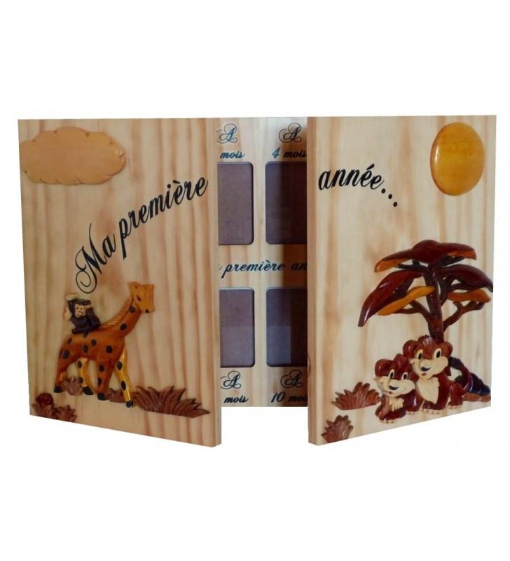 """Cadre 12 photos """"Ma première année"""", Girafe / Lionceaux"""