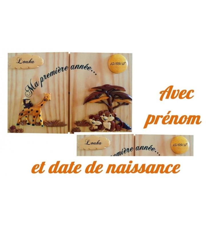 """Cadre 12 photos personnalisé """"Ma première année"""", Girafe / Lionceaux"""